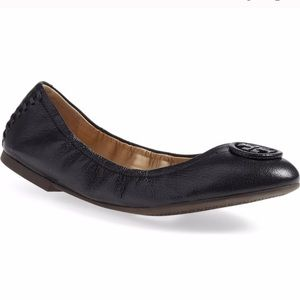 "Tory Burch ""Allie"" Black Leather Ballet Flats 9"